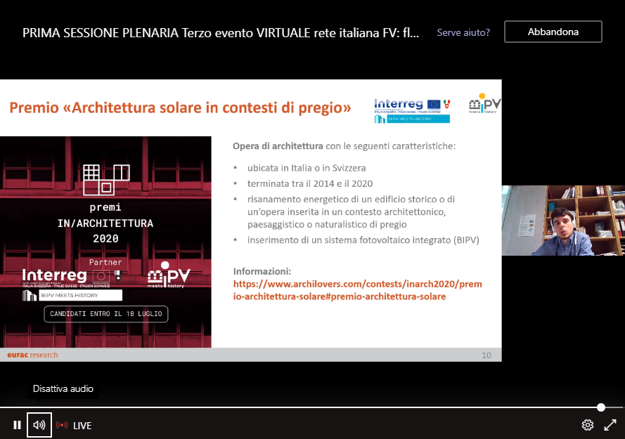"III Workshop del Progetto Europeo ""PV Impact"" (en)"