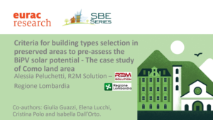 Presentation at the SBE21 Conference 'Criteria for building types selection in preserved areas'