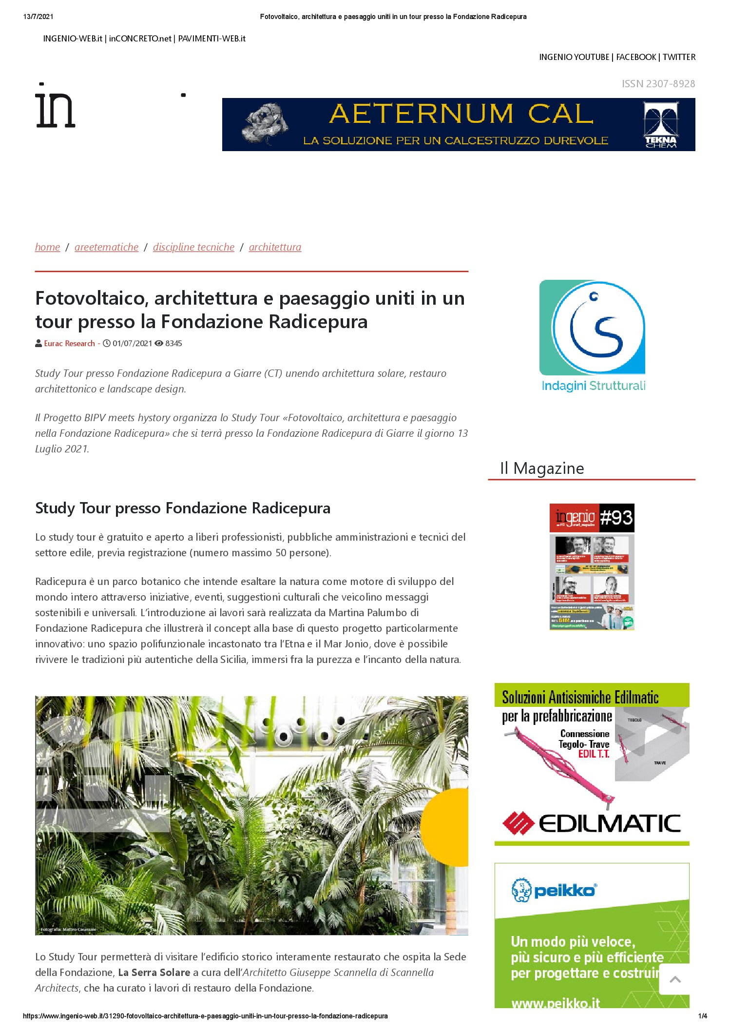 You are currently viewing Ingenio-web – Study tour a Radicepura