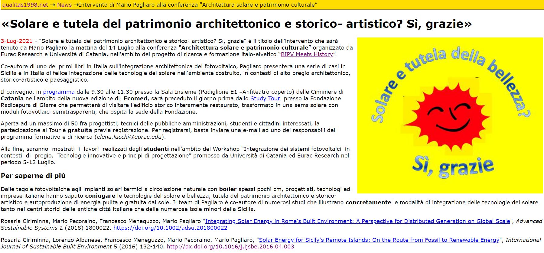 You are currently viewing L'illustre Mario Pagliaro parla di noi